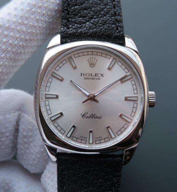 Rolex Cellini Danaos 4243 SS Silver Dial Black Leather Strap A2824 - Watches-2019