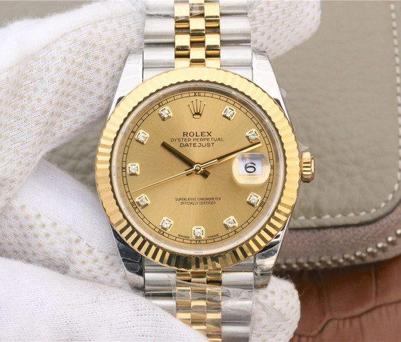 replica rolex dateJust yellow gold 126333 Wrapped yellow gold Dial Diamonds  - Watches-2019