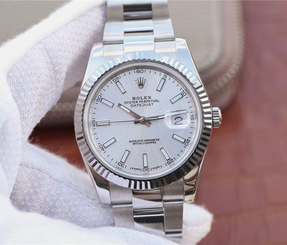 replica rolex DateJust 41mm 126334 Fluted Bezel Silver Dial Stick Markers Bracelet - Watches-2019