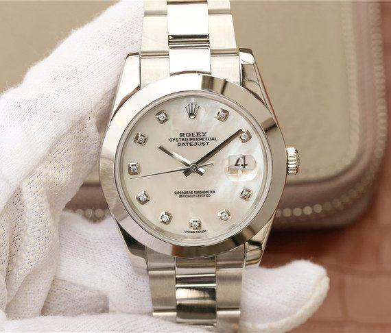 replica rolex DateJust 41mm White MOP Dial Diamonds Markers Bracelet 126300 - Watches-2019
