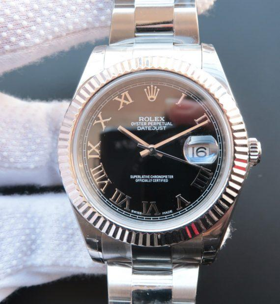 replica rolex DateJust Black Dial Roman 41mm Markers 116334 - Watches-2019