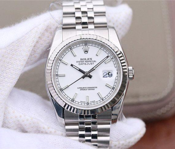 replica rolex DateJust White Dial Stick Markers 36mm 116234 - Watches-2019
