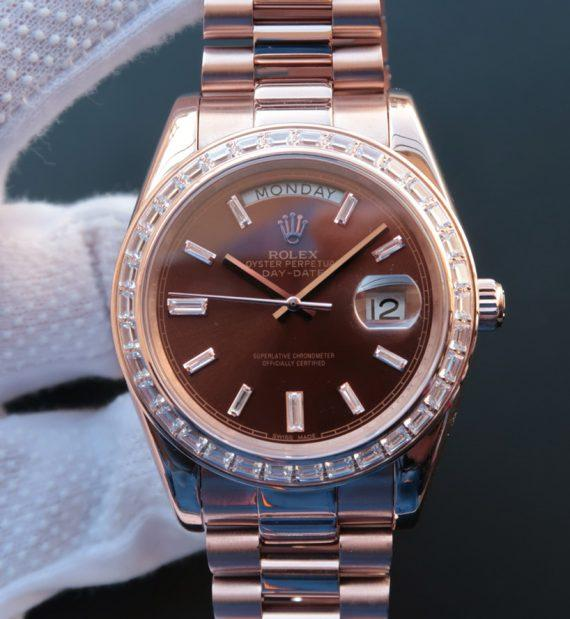replica rolex Day-Date 218399 rose gold brown Dial Diamonds Bezel - Watches-2019