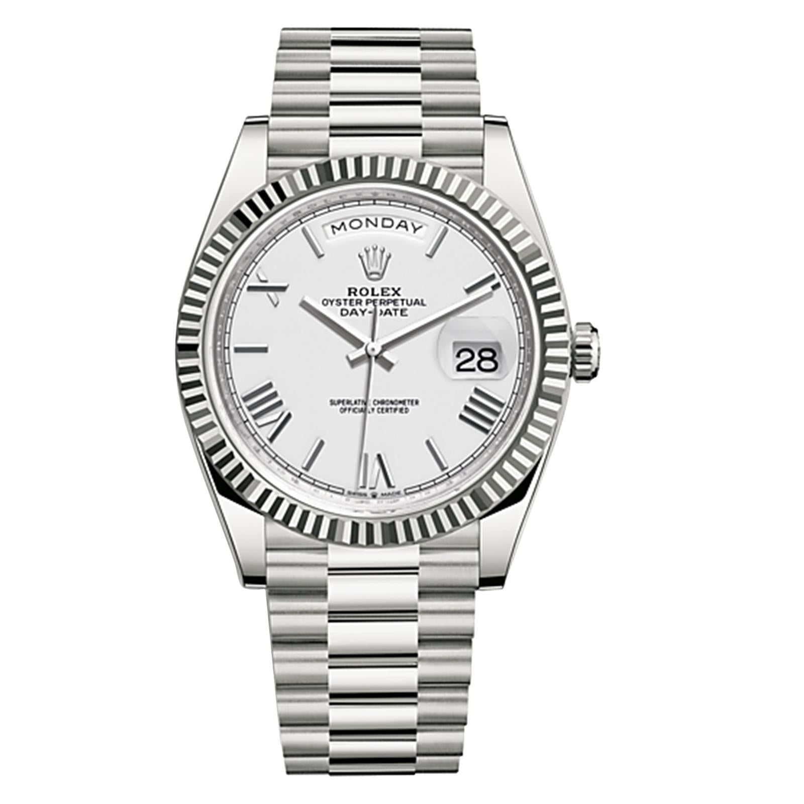 replica rolex day date oyster 40 mm white gold - Watches-2019