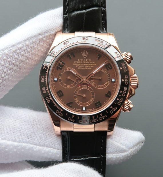 replica rolex Daytona 116515 Chocolate Dial Black Leather Strap - Watches-2019