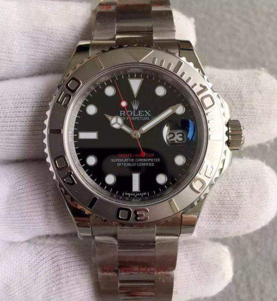 replica rolex Yacht-Master silver116622 Black Dial - Watches-2019