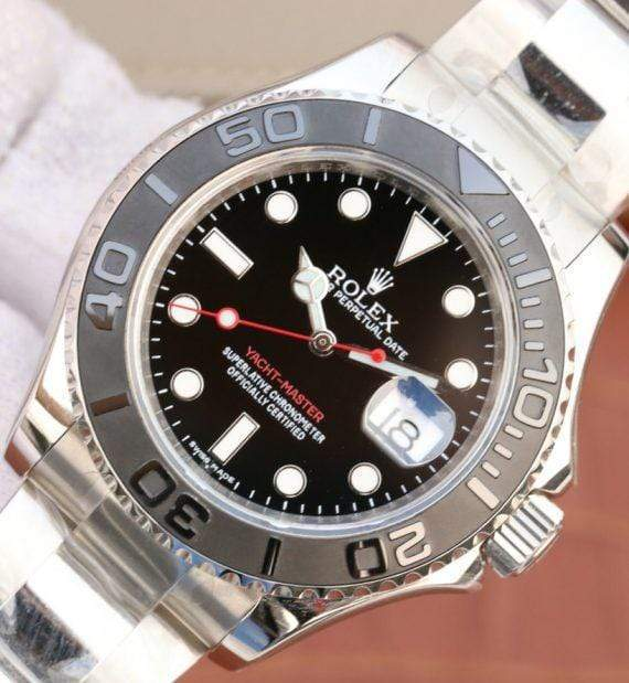 replica rolex Yacht-Master 116622 silver black Dial black bazel - Watches-2019