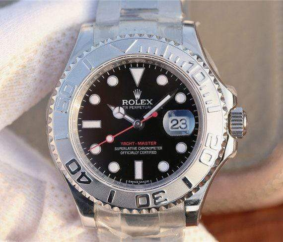 replica rolex Yacht-Master 116622 silver Black Dial - Watches-2019