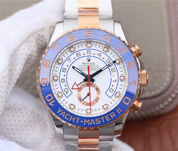 replica rolex Yacht Master II White Dial Men's Steel and 18K Everose Gold Watch - Watches-2019