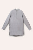 Kurta Shirt, Long, Light Grey