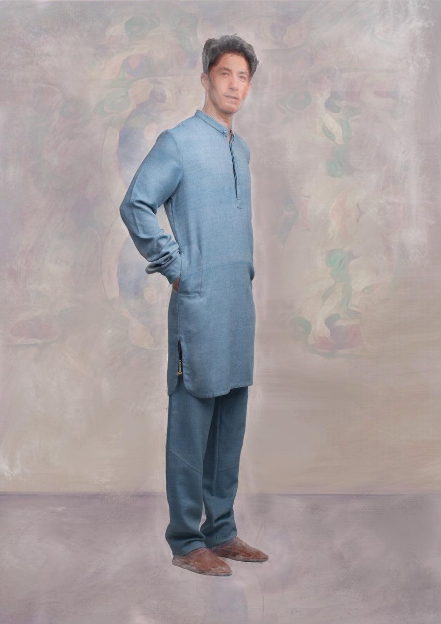 Kurta Shirt, Long, Light Indigo