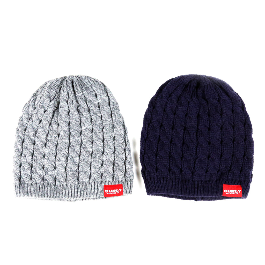Text Cable Knit Beanie