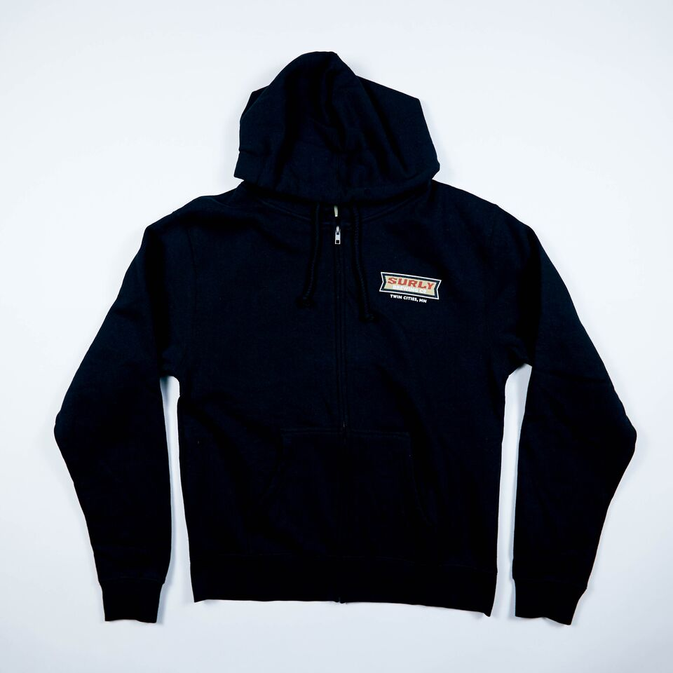 Women's Badge Logo Zip Hoodie  - Black