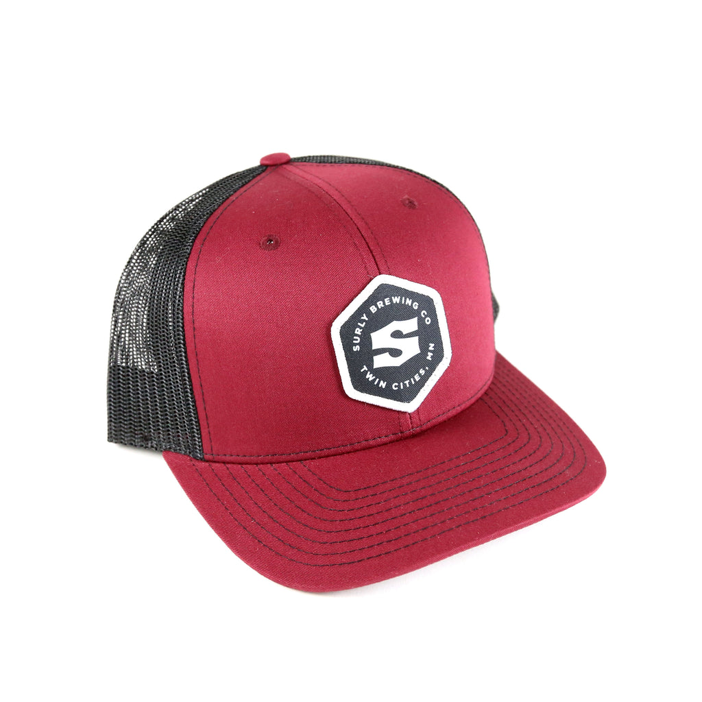 Structured Hex Logo Trucker - Cardinal