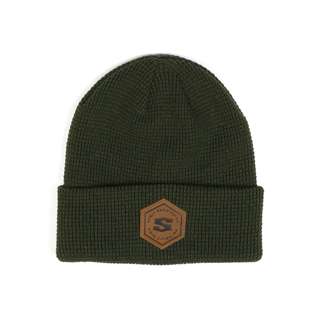 Leather Patch Waffle Beanie