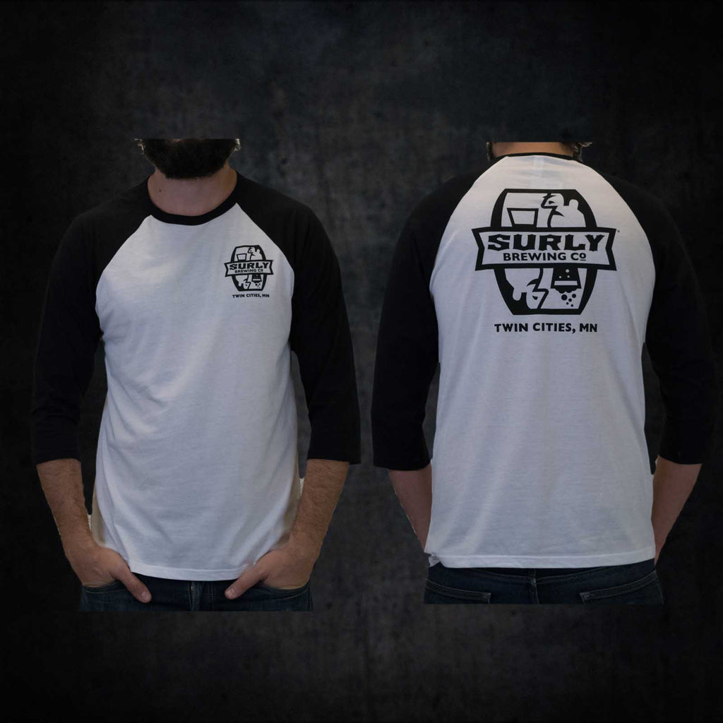 Men's Badge Logo Raglan - White - Small Only