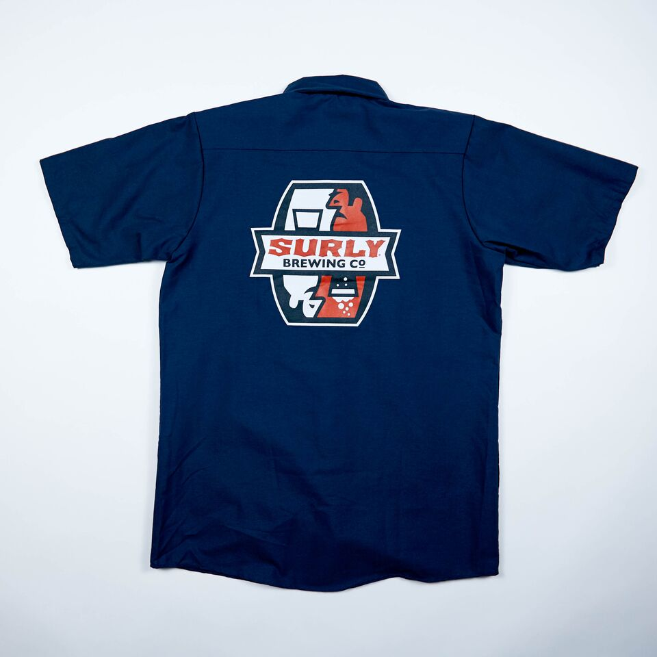 Men's Badge Logo Brewer Work Shirt  - Navy