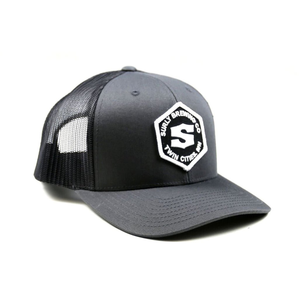Structured Hex Logo Trucker - Charcoal