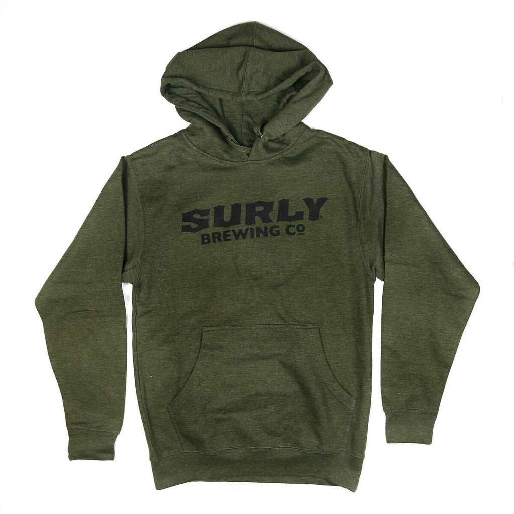 Men's Text Logo Pullover Hoodie  - Army Heather