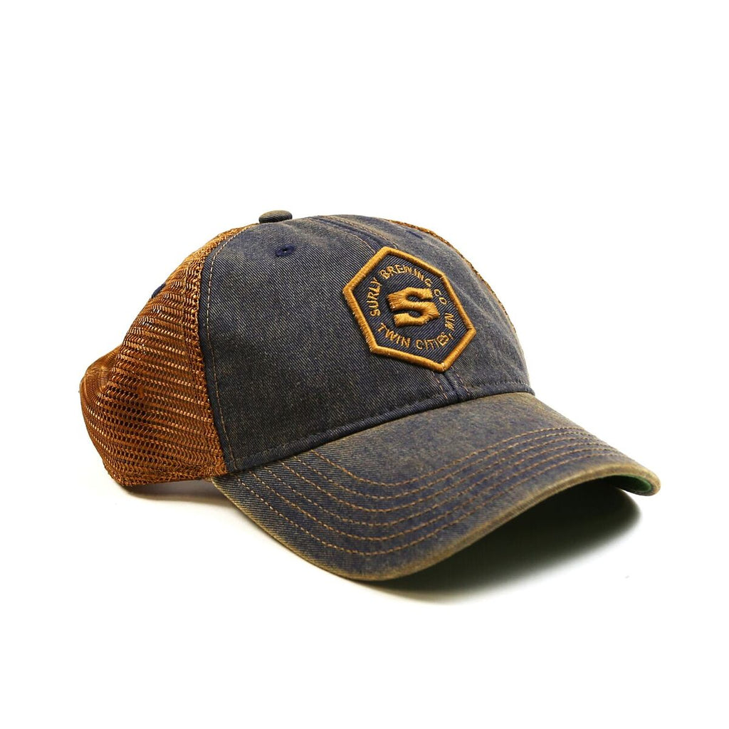 Legacy Hex Trucker Hat - Navy/Copper