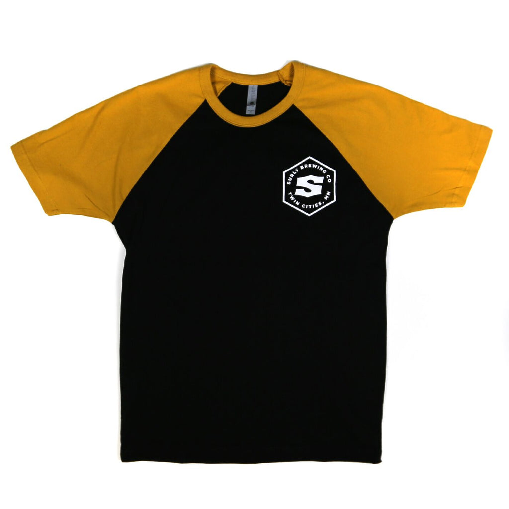 Men's Hex Raglan Tee - Black and Yellow