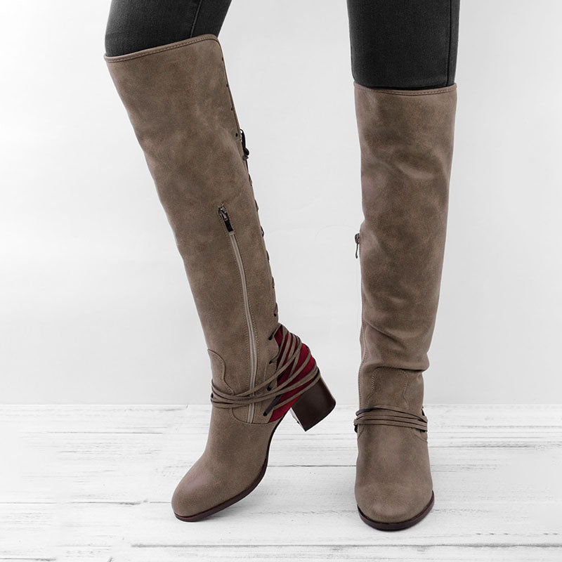 c9fce453a0c Women Vintage Lace Up Boots European Style Bandage Above Knee Boots – CHIC  REAL