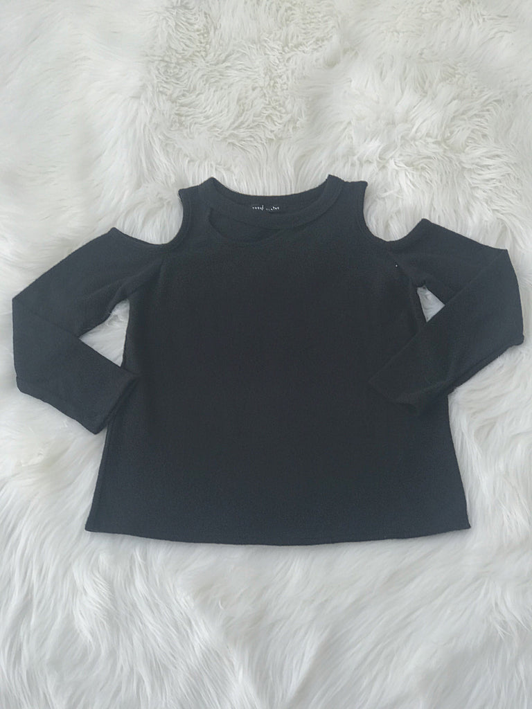 Long Sleeve Brushed Baby Fleece Cold Shoulder Top