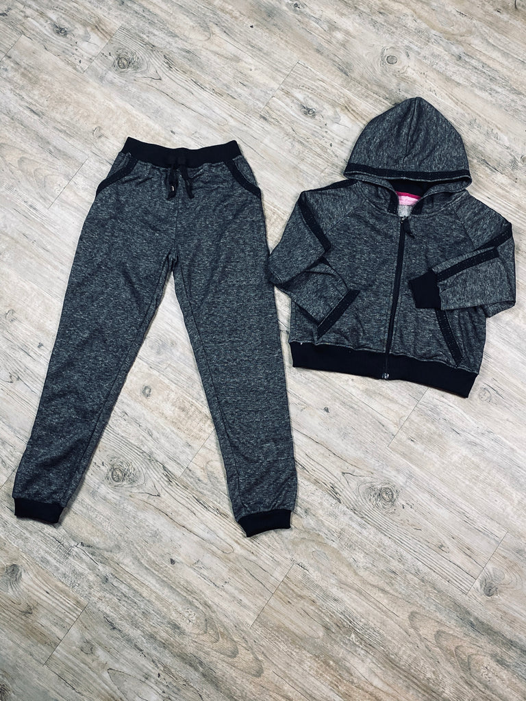 Girls Raglan Hoodie Jogger Active Set With Lace