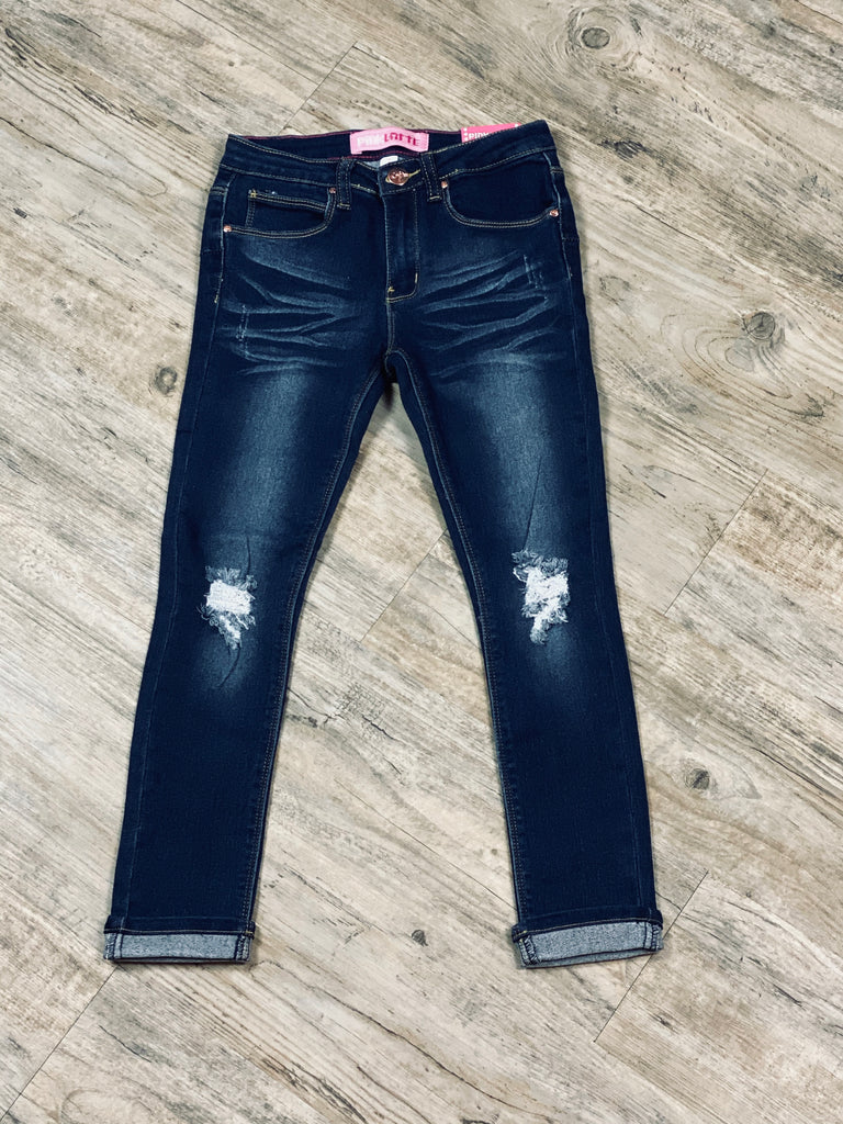 Girls Yummy Wash Jeans Distressed With Roll Up & Adjustable Waist Band
