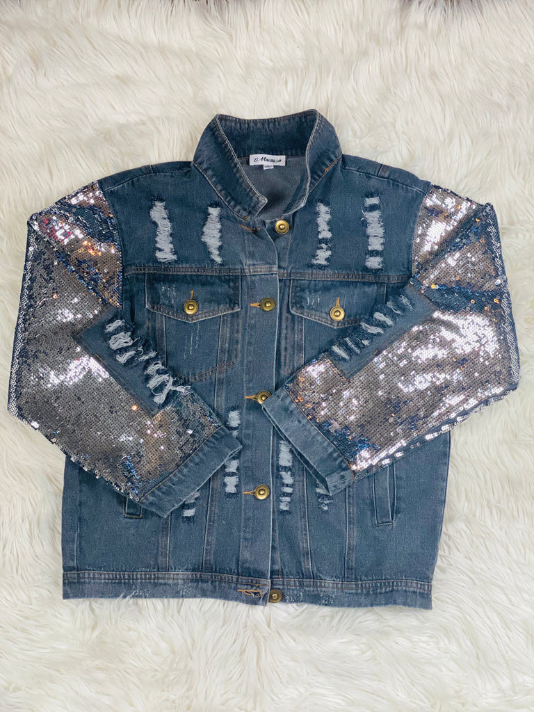 Distressed Denim Jacket With Button Front