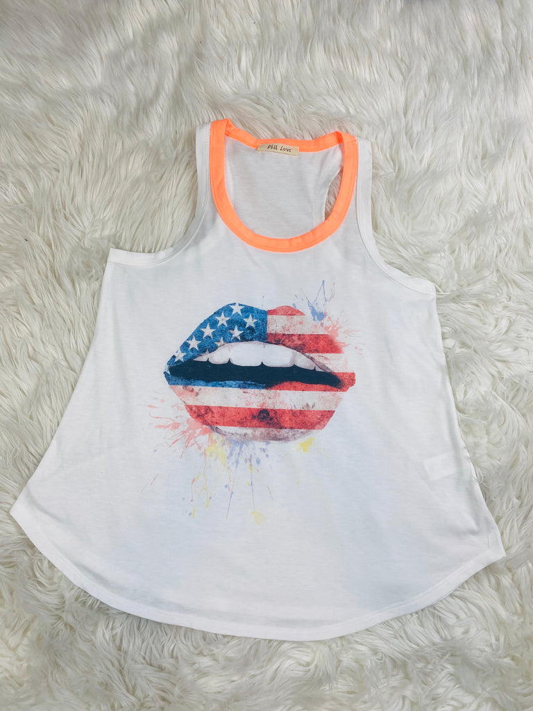 American Flag Lip Neon Tank Top