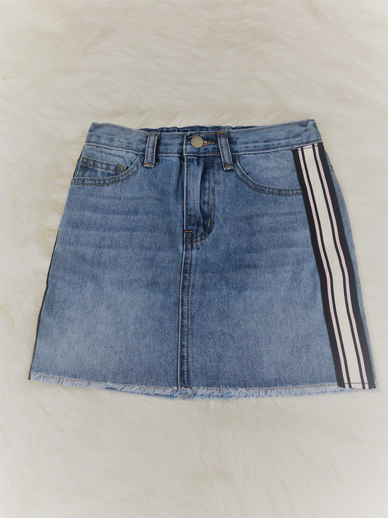 Side Stripe Tape Denim Mini Skirt