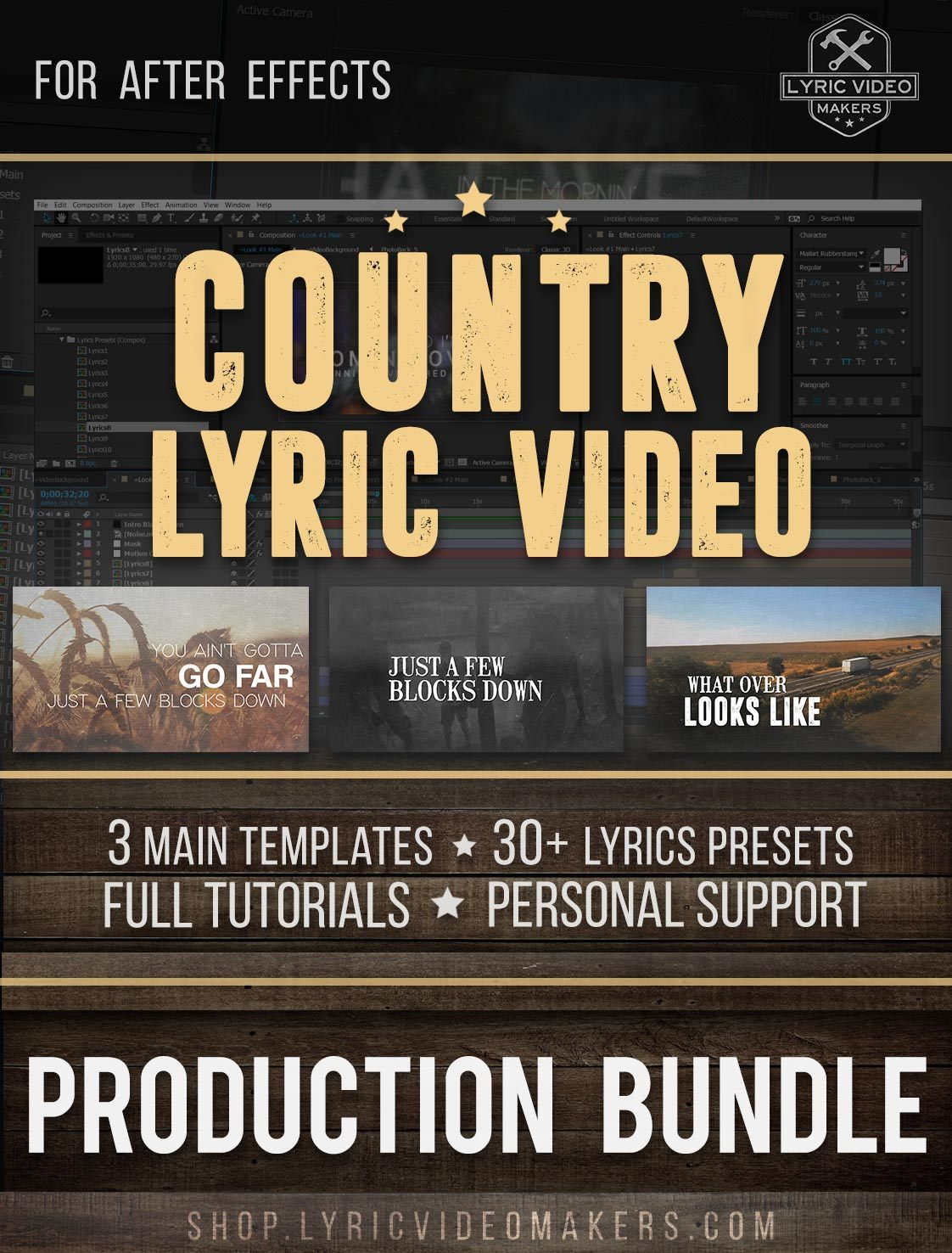 Country Lyric Video Producer's Kit - 3 Templates Bundle for After Effects - lyric-video-shop