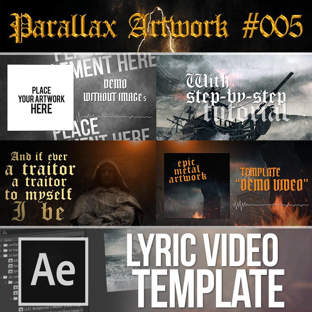 Parallax Artwork Lyric Video Template #005 for After Effects | With GLITCHES - Lyric Video Shop