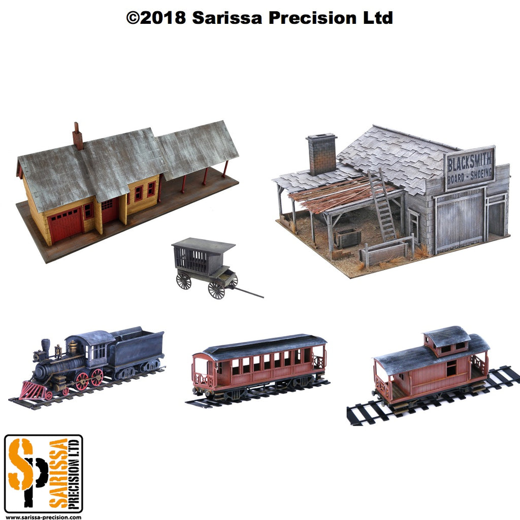 3.10 Old West Railroad Scenery Set