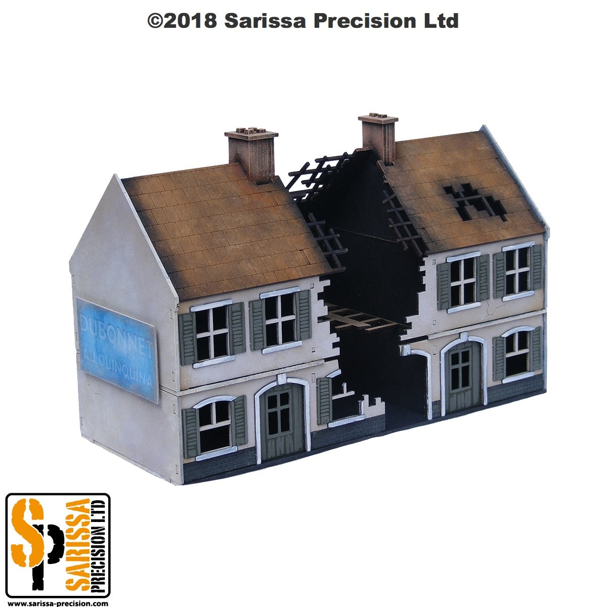Destroyed Terrace House Block - 28mm