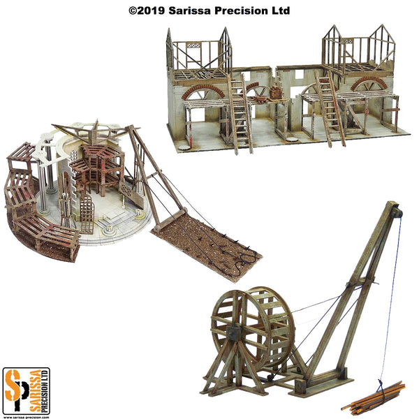 Roman Temple Under Construction Scenery Set