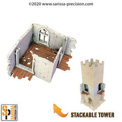 The Ruined City - Level 1 Tower Corner with Window and Walkways (stackable)