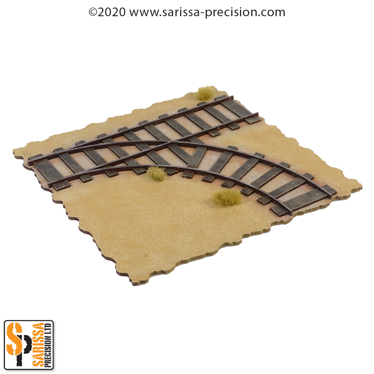TTS compatible Railway  - Straight with curve split Right L200 x W200mm