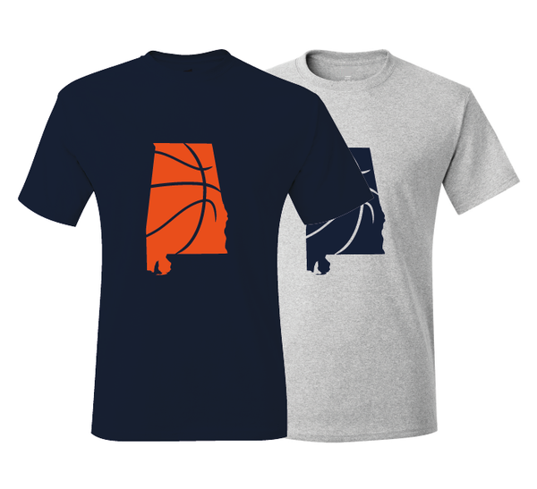 Alabama Auburn Inspired Navy & Orange Basketball  T-Shirt