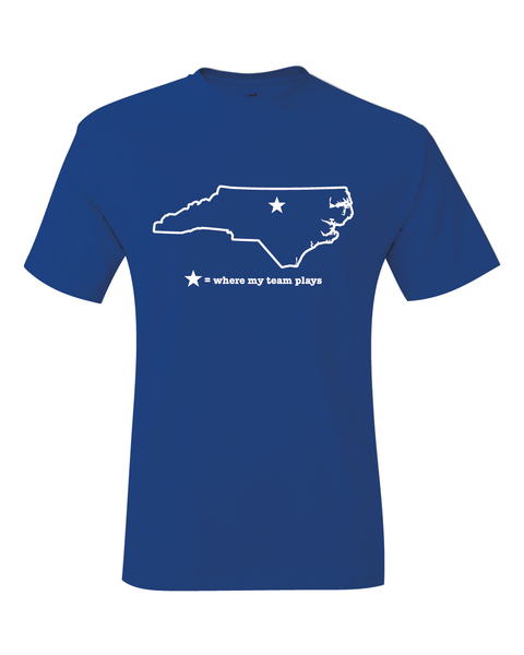 North Carolina Durham Blue & White Where My Team Plays T-Shirt