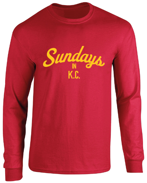 Sundays In KC Chiefs Inspired Kansas City Long Sleeve T-Shirt