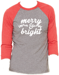 Merry & Bright Christmas Unisex Baseball Raglan T-Shirt