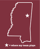Mississippi Starkville Maroon & White Where My Team Plays T-Shirt