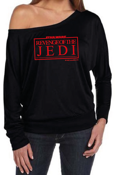 Revenge Of The Jedi Women's Off The Shoulder Long Sleeve Slouch T-Shirt