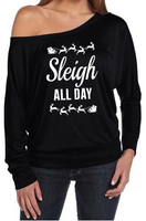 Black Sleigh All Day Christmas Women's Off The Shoulder Long Sleeve Slouch T-Shirt