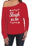 Red Sleigh All Day Christmas Women's Off The Shoulder Long Sleeve Slouch T-Shirt
