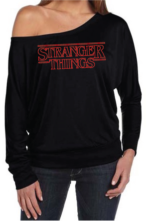 Stranger Things logo Women's Off The Shoulder Long Sleeve Slouch T-Shirt