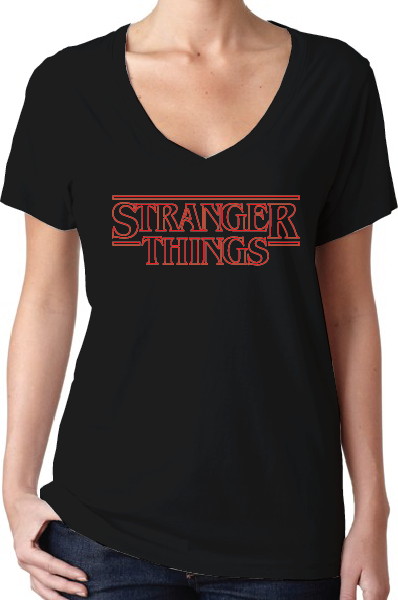 Stranger Things Season 1 Logo Women's Black V-Neck T-Shirt
