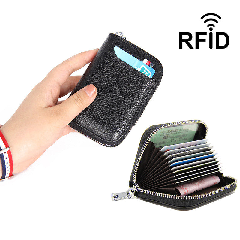 Women's Classic RFID Card Holders Genuine Leather Bags Solid Zipper Coin Purse - Marfuny